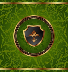 Royal golden frame with medallion and fleur de lis vector image vector image