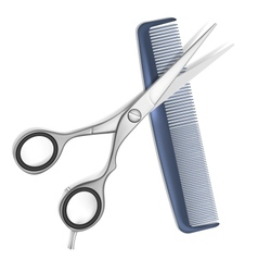 Scissors and comb for hair vector