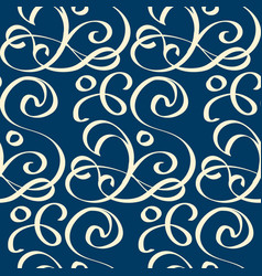 Seamless blue pattern with white writhing ribbons vector