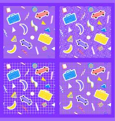 set memphis pattern vector image
