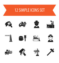 set of 12 editable construction icons includes vector image
