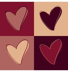 set of hearts marsala vector image