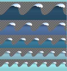 set paper art cartoon blue abstract waves vector image