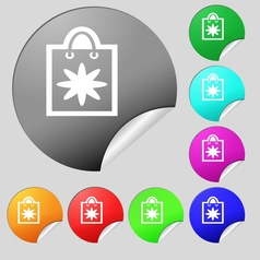 shopping bag icon sign Set of eight multi colored vector image