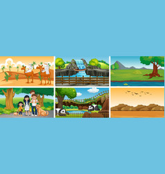 Six scenes with people and animals vector