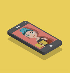 Smart phone in isomemetric view vector