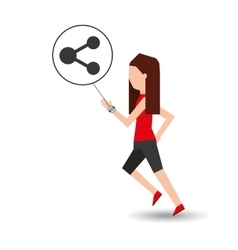 Sport girl running with smart watch share icon vector
