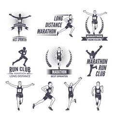 sport labels at marathon theme for sport teams vector image