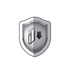 Sticker shield with book and arrow icon flat vector
