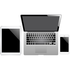 Tablet laptop and smartphone on the white vector