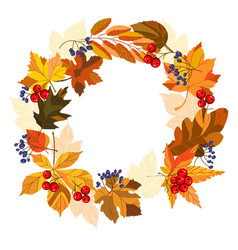 Template with autumn wreath vector