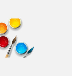 tins with gouache acrylic paint collection set vector image