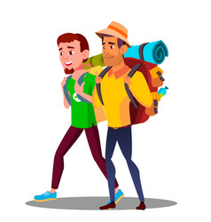 two guy friends teen going hiking with backpacks vector image