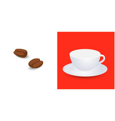 White empty cup mockup on plate and coffee grains vector
