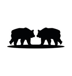 Wild bears beasts animals silhouettes vector