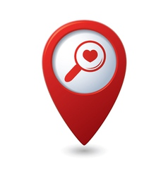 Zoom icon with heart on the red map pointer vector