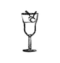 blurred silhouette drink cocktail glass with vector image