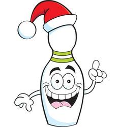 Cartoon bowling pin wearing a Santa hat vector image