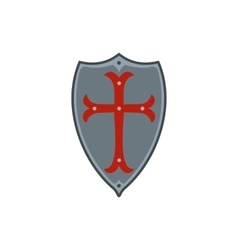 Medieval shield with red cross icon flat style vector image
