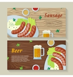 Sausage and beer web banners in flat design vector