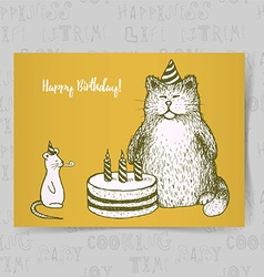 Sketch Birthday card vector image
