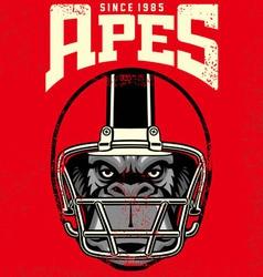 vintage ape football player vector image vector image