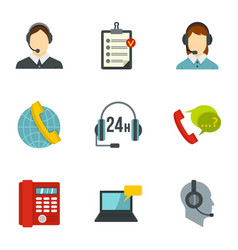 business customer care service icons set vector image vector image