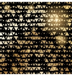 Golden shiny triangle mosaic on black vector image
