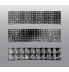 Horizontal set Silver sequins banners Glitter vector image vector image