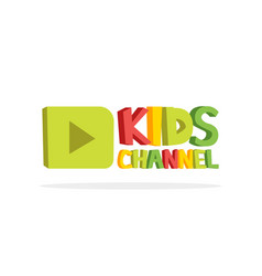 kids channel funny letters cartoon logo template vector image