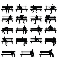 man silhouette sitting on bench set in black color vector image vector image