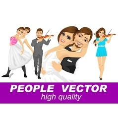 people with various characters vector image vector image