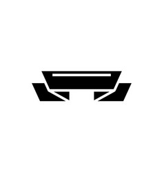 ribbon 2 corners icon black vector image vector image