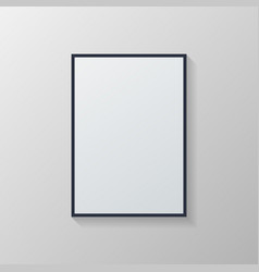 white poster with black frame on grey wall vector image