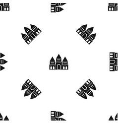 children house castle pattern seamless black vector image vector image