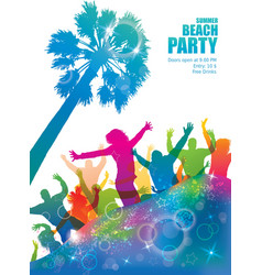 Dancing young people on the tropical beach vector image vector image