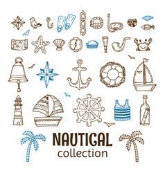Hand drawn nautical collection Marine icon set Sea vector image vector image