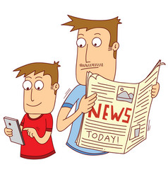 my father reading news paper vector image