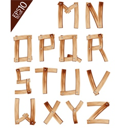 Old Grunge Wooden Alphabet vector image vector image