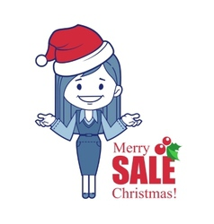 Promotional banner with christmas character girl vector
