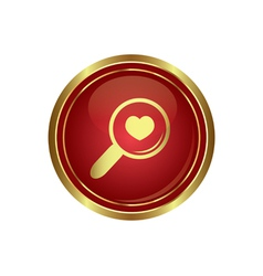 Zoom icon with heart vector image vector image