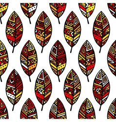 Autumn colored ethic mexican leaf seamless pattern vector