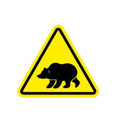 bear warning sign yellow predator hazard vector image