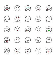black thin line emoji speech bubble set vector image vector image