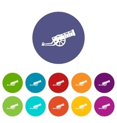 Cannon set icons vector image