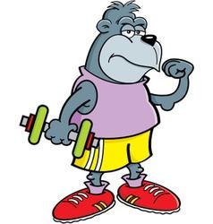 Cartoon Gorilla Holding a Dumbbell vector image