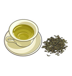 china porcelain cup and pile of dry green tea vector image vector image