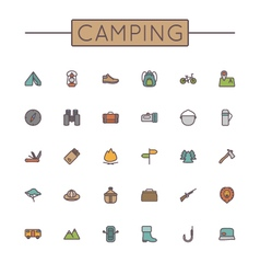 Colored Camping Line Icons vector image vector image