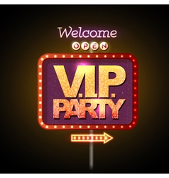Neon sign VIP party welcome vector image