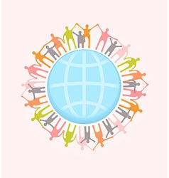 People around the world holding hands Unity vector image vector image
